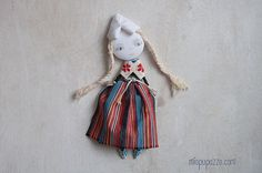 Dutch Girl Art Doll Brooch  mixed media collage by miopupazzo
