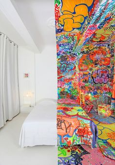 Dubbed 'The Panic Room'  Graffiti artist Tilt  added his unique touches to this room in the Au Vieux Panier Hotel of Marseille, France. It is one of five art spaces, each with its own visual theme featuring the work of a single graphic designer or painter.