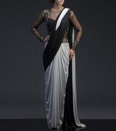 Black Lycra Hand Embroidered Concept Saree