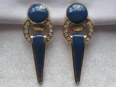 Vintage Art Deco Style Rhinestone & Deep Blue by JewelryCapers, #vjse2 #boebot #etsybot2 #vintage #jewelry $12.00