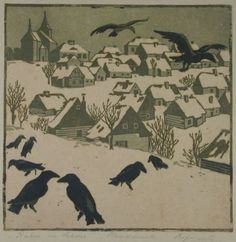 Ravens in the Snow, Martha Hofrichter (1872 - 1960), a German-speaker from Brno in what is now the Czech Republic.