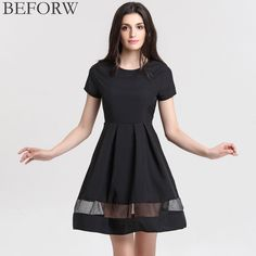 0955643745a BEFORW Brand Women Dresses Fashion Round Neck Solid Casual Summer Dress  Plus Size Splice Sexy Dress Black Vintage Office Dresses