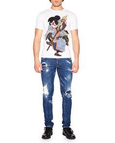 Cool Guy Destroyed Patchwork Denim Jeans & Samurai Graphic T-Shirt