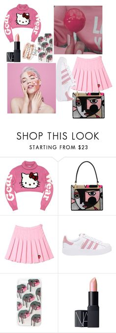 """""""pink"""" by polinncharmel ❤ liked on Polyvore featuring Prada, adidas Originals and NARS Cosmetics"""