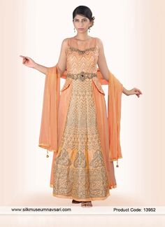 Gratifying Peach Net Party Wear Designer Gown