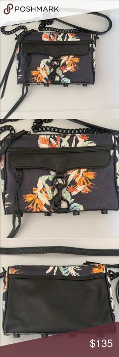 85011fd110 Rebecca Minkoff mini Mac tropical print crossbody Excellent used condition  I ve only worn it a handful of times Very rare tropical floral print Black  ...