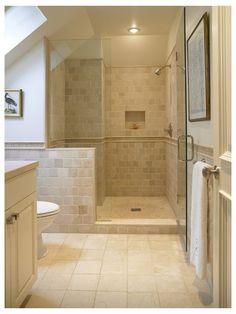 Tan Bathroom, Travertine Bathroom, Bathroom Colors, Bathroom Interior, Small Bathroom, Master Bathroom, Master Shower, Huge Shower, Bathroom Bin
