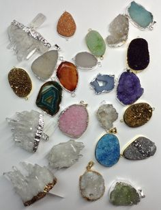 Druzy quartz pendants. Geodes everywhere!