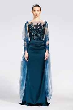 Talbot Runhof Pre-Fall 2013, #37 / lose the sheer curtains around her shoulders and this dress is perfect