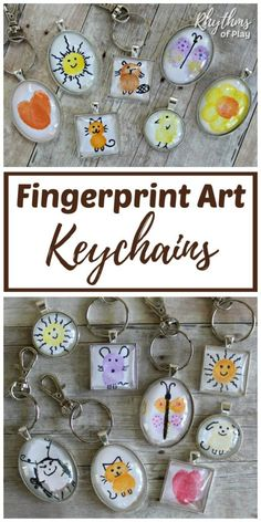 DIY Fingerprint art keychain and backpack charms are an easy homemade gift idea that kids, teens, and adults can make. Use your fingers and thumbs to make unique one of a kind fingerprint art keychains or a backpack pendant charm. A handmade gift for family, friends, or your child's favorite teacher! #RhythmsOfPlay #MothersDayGift #FathersDayGift #HomemadeGift #DIYGift #HandmadeGift #ThoughtfulGiftIdea #UniqueGift #HowTo#KeychainTutorial #BackpackCharms