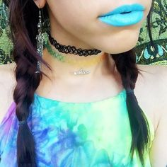 SO BEAUTIFUL @madelinependleton in Rainbow Whatever! Choker, Black But Not Basic Tattoo Choker, and #riowarner Ultimate Tie-Dye Dream Shirt!!! All available at #shoptunnelvision!