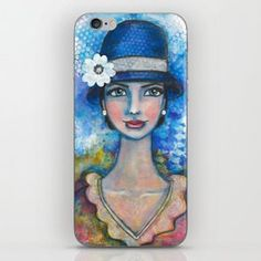 Lady and the Hat iPhone Skin... Visit my society6 shop and check out some new products with my artwork. Link: https://society6.com/elenisart  And this Friday you get  FREE SHIPPING on Everything with Code FRIYAY  Start: Friday, 7/20/18 @ 12:00am PT  End: Friday, 7/20/18 @ 11:59pm PT