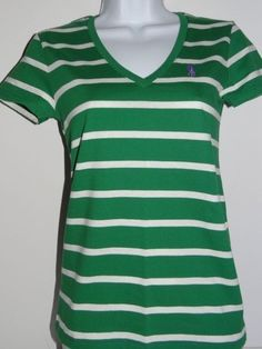 Ralph Lauren Women's 100% Cotton Green/White V-Neck T-Shirt Size XS,S,M,L, & XL #PoloRalphLauren #VNeck