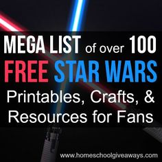 Homeschool Giveaways Mega List Of Over 100 Free Star Wars Printables Crafts And Star Wars Room, Star Wars Day, Lego Star Wars, Printable Star, Freebies Printable, Free Printables, Star Wars Classroom, Anniversaire Star Wars, Star Wars Crafts
