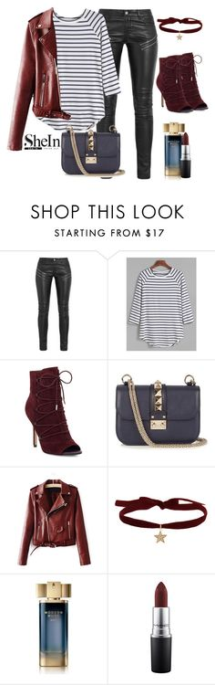 """SHEIN: Win striped T-shirt"" by anna11111 ❤ liked on Polyvore featuring Yves Saint Laurent, Sam Edelman, Valentino, WithChic, Estée Lauder and MAC Cosmetics"