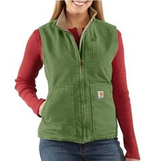 "Carhartt Women's Sandstone Mock Neck Vest Carhartt. $60.99. Sherpa-lined. 100-percent-cotton. 100% Cotton. Machine wash warm - separately. Imported. Machine Wash. 0.00"" wide. Drop tail for added coverage. 100% cotton sandstone duck. 0.00"" high"
