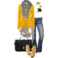 Wow. I am in love with this outfit. Black-checked scarf with yellow top. Happy, happy is what comes to mind looking at this. Cheery and bright! Yellow is my fav color too!