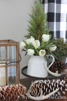 Winter Vignette - Winter Living Room