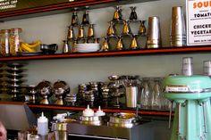 The Ice Cream Bar in San Francisco scoops up a variety of ice cream flavors, shakes & other soda fountain treats. San Francisco Bars, David Lebovitz, Icecream Bar, Soda Fountain, Ice Cream Flavors, Liquor Cabinet, Hamilton Beach, Nostalgia, Home Decor