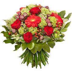 Brûlante composition aux couleurs de l'amour. Ce tourbillonnant bouquet rond parle de sentiments, de constance et de bonheur partagé.
