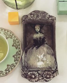 Vintage silver plate tray , oil paints and resin