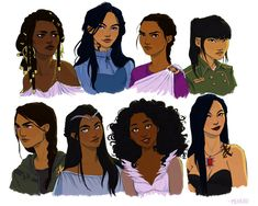 Black Haired Girls by meabhdeloughry.deviantart.com: Nehemia Ytger (Throne of Glass), Cecily Herondale (The Infernal Devices), Reyna Arellano (Percy Jackson), Ringer (The 5th Wave) Bottom: Katniss Everdeen (The Hunger Games), Bitterblue (Graceling), Winter Blackburn (The Lunar Chronicles), Isabelle Lightwood (The Mortal Instruments)