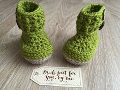 Crochet Baby Boy Wellington Boot.  These beautiful little Wellington style boots are just precious; rain or shine! They are made from a soft wool