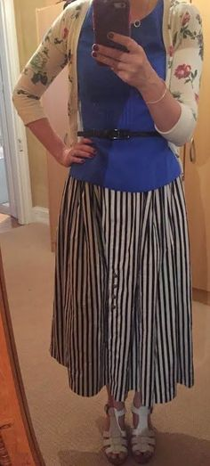 The Girl With Nothing to Wear: Blue top, striped skirt, work style, spring style