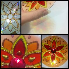 Recycle CD, glas in lood effect, mandala, glass paint, made by Projeto Gaya