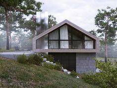 // Forest House Visualisation by Aleksandra Nuzhnaya Mountain Home Exterior, Dream House Exterior, Dream House Plans, Gate House, House Roof, Style At Home, Casa Magnolia, Houses On Slopes, Modern Barn House