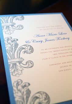 Hand Stamped Fleur De Lis Wedding Invitation By GoldenSilhouette, $4.90