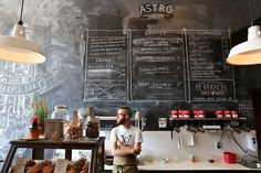 Astro Coffee : If I ever open a coffee shop/cafe, an enormous blackboard wall… My Coffee Shop, Coffee Shop Design, Coffee Cafe, Cafe Design, Coffee Shops, Bistro Design, Coffee Menu, Menu Design, Decoration Restaurant