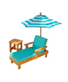 After a long day of running around outside, sometimes a kid just needs to kick back. This lounge-worthy chaise set is made from water-resistant wood, outfitted with an umbrella for shade, a side table for beverages or books and just the thing for relaxing in the sun. Includes chaise, umbrella and tableChaise: 22.5'' W x 19.3'' H x 36'' D