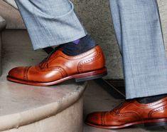 Indochino Ultimate Gray suit x Allen Edmonds Strand Grey Suit Brown Shoes, Grey Pants, Grey Trousers, Allen Edmonds, Sharp Dressed Man, Well Dressed Men, Navy Socks, Men Dress, Dress Shoes