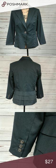 CAbi gray blazer 8 Single button dark gray blazer. Has layers on back to seem like ruffles. Soft cotton liner. Small sewn in shoulder pads. Armpit to armpit is 20.5 inches. Shoulder to hem is 23 inches. CAbi Jackets & Coats Blazers