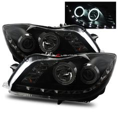 11-12 Buick Regal LED Strip CCFL Halo Projector Headlights - Black