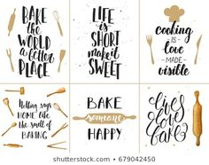 Set of vector bakery lettering posters, greeting cards, decoration, prints. Typography Poster, Typography Design, Handwritten Letters, Illustrations, Good Good Father, Book Quotes, How To Draw Hands, Royalty Free Stock Photos, Greeting Cards