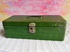 Green Climax Lockbox : Mid-Century Industrial Metal Storage Box for Office or Tools - pinned by pin4etsy.com