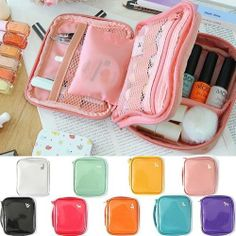 Zoo Pearl Color Enamel Cosmetic Pouch Make up Case Organizer (M) -Minibus
