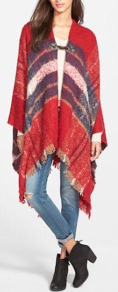 red plaid blanket poncho