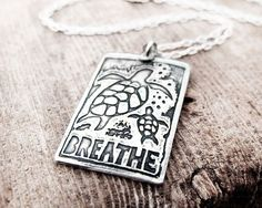 Sea turtles necklace in silver  raw art by lulubugjewelry on Etsy, $44.00