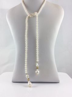 Baroque Pearl Lariat Wrap Necklace with Vermeil Balls