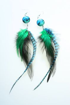 Earth colored feather earrings by cailloucreations on Etsy, $15.00