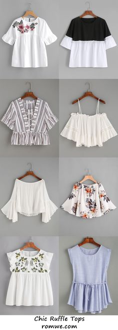 Cute Ruffle Tops from – Moldes Moda Girls Fashion Clothes, Teen Fashion Outfits, Trendy Fashion, Girl Fashion, Fashion Dresses, Crop Top Outfits, Cute Casual Outfits, Summer Outfits, Mode Rockabilly