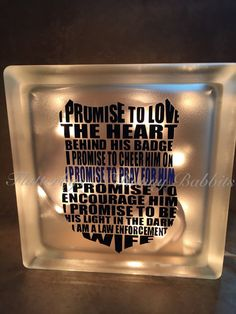 Items similar to Police wife lighted glass block night life memory block thin blue line police wife police spouse back the blue on Etsy Circuit Projects, Vinyl Projects, Oil Based Sharpie, Police Wife Life, Board And Brush, Glass Block Crafts, Lighted Glass Blocks, Police Gifts, Silhouette Cameo Projects