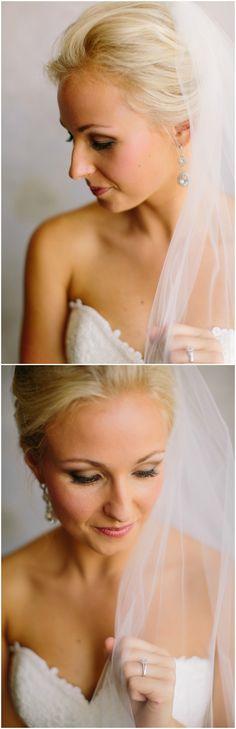 Elegant wedding makeup, simple bridal beauty look, light pink lip, light smokey eyes, see more on borrowedandblue.com // JoPhoto