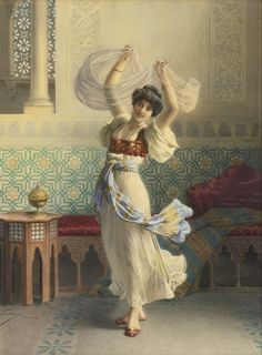 Francesco Ballesio (Italian, 1860 - 1923), The Dance of the Veils [high res], n.d., watercolor over pencil heightened with gum arabic on paper, 72 x 54 cm. (28.375 x 21.25 in.)  ||  via Sotheby's