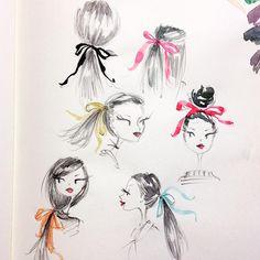 Saturday morning sketch. #ribbon #hair #sketch