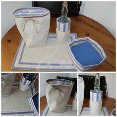 Conjunto Floral Azul: individual e saquinhas com dupla face, uma em linho e outra em chita de Alcobaça; atilho para fechar e guardar.