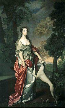 Elizabeth Gunning Duchess of Hamilton ca. by Gavin Hamilton Scottish National Portrait Gallery John Douglas, Hamilton, Greyhound Kunst, Duke Of Argyll, Inveraray Castle, Artist Names, Woman Painting, Dog Art, 18th Century